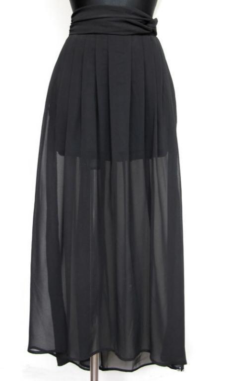 H&m maxi szyfon asymetryczna spódnica M czarna