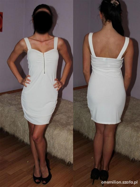 Suknie i sukienki sukienka h&m biała zip