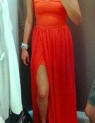 Pomaranczowa długa sukienka