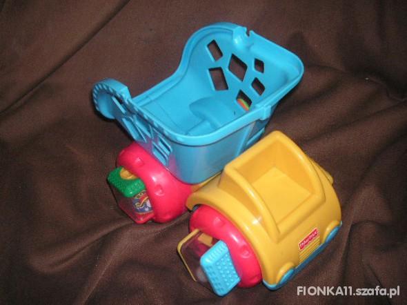 Zabawki wywrotka ciężarówka fisher price i klocki sensoryc