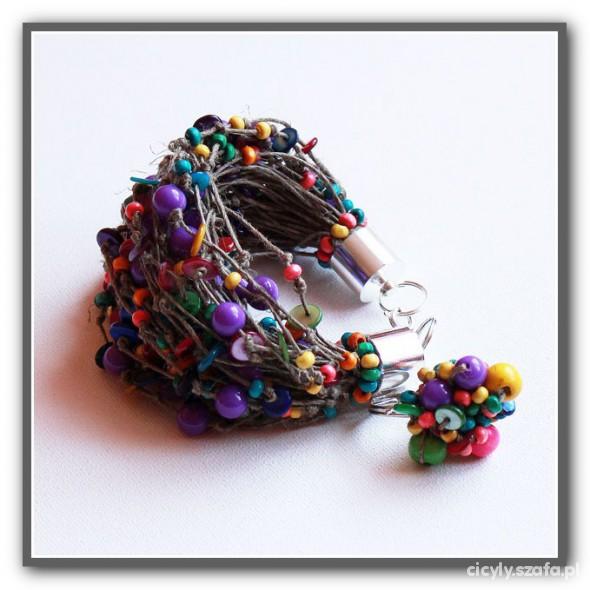 modna bransoletka LEN z dominantą fioletu na lato