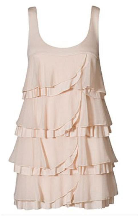 Suknie i sukienki pudrowy róż falbany HandM