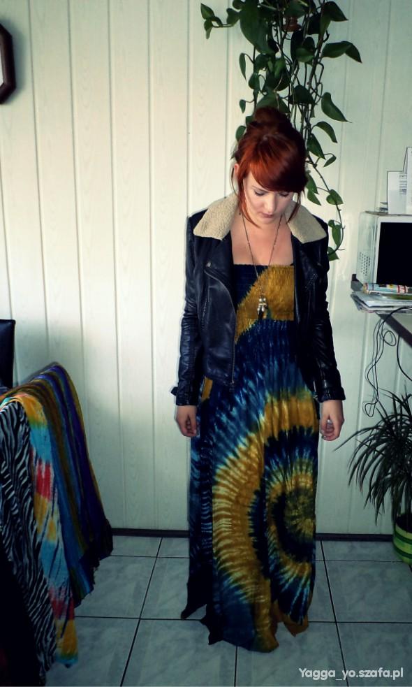 Imprezowe Sukienka maxi hippie style plus ramoneska