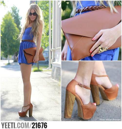 Eleganckie sukienka i sandały na słupku