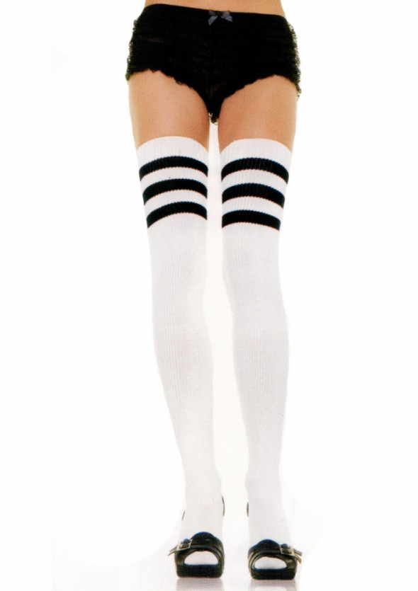 3c35d73597a642 Rajstopy, pończochy ZAKOLANÓWKI białe paseczki adidas college retro
