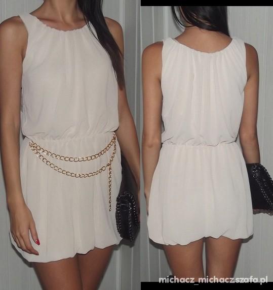 Suknie i sukienki sliczna beżowa sukienka