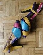 CUDNE kolorowe sandałki na platformie