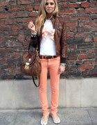 brzoskwiniowe spodnie XL