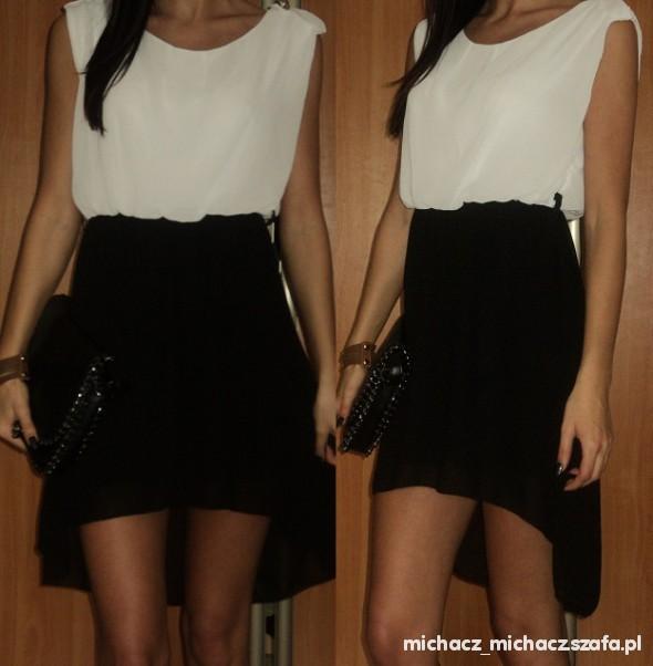sukienka bialo czarna asymetr