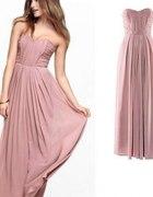 Długa sukienka h&m kolor nude rozm 34 36