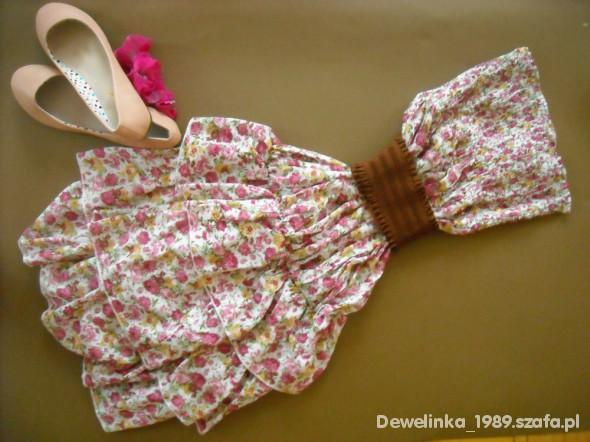 Suknie i sukienki nowa sukienka w kwiaty sukienki flora z paskiem
