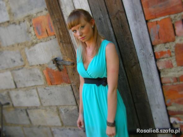 Mój styl Miętowa asymetryczna sukienka
