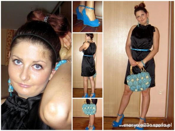 Mój styl czarna sukienka i niebieskie koturny