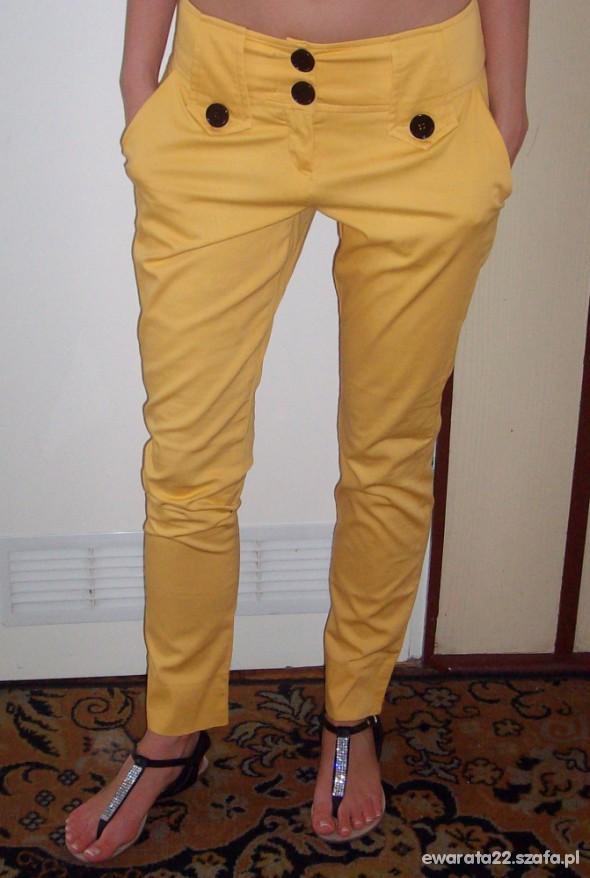 Spodnie ŻÓŁTE HAREMKI CYGARETKI RURKI NA LATO