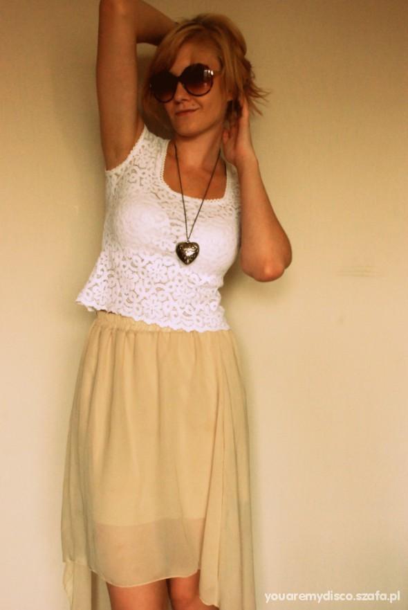 Romantyczne Asymetryczna Spódnica i Koronka