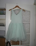 Miętowa sukienka baletnica