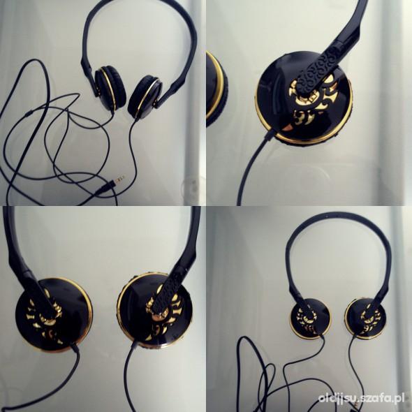 Pozostałe nowe słuchawki nauszne czarne ze złotymi dodatkami
