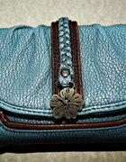 turkusowo lazurowy portfel z naturalnej skóry...