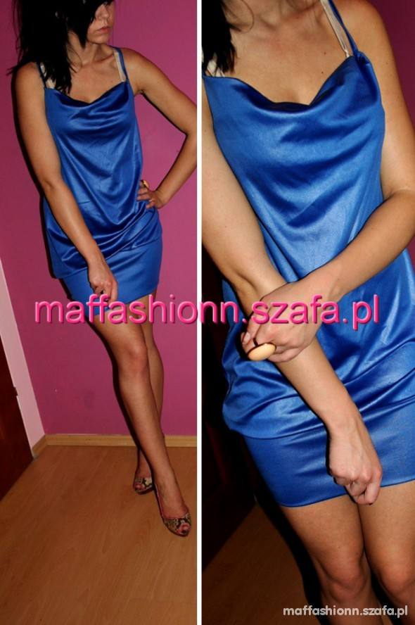 Suknie i sukienki NOWA cudowna KOBALTOWA chabr szafir