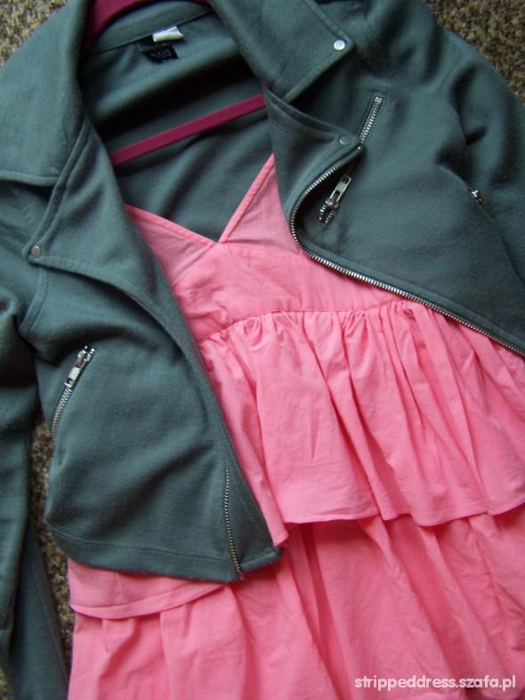 Sexi sukienka falbany max plus materiałowa ramoneska
