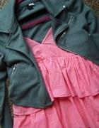 sukienka falbany max plus materiałowa ramoneska