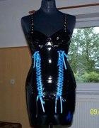 Czarny Latex gorset z mini sukienką 100 procent...