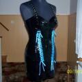 Czarny Latex gorset z mini sukienką 100 procent