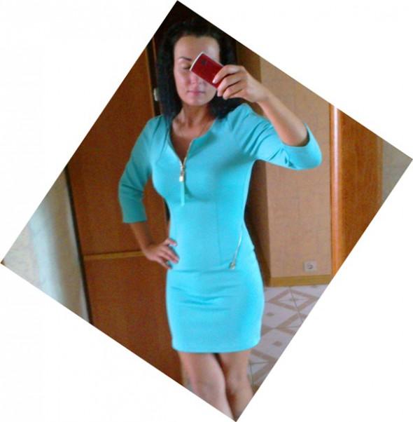 Imprezowe Moja miętowa sukienka zip