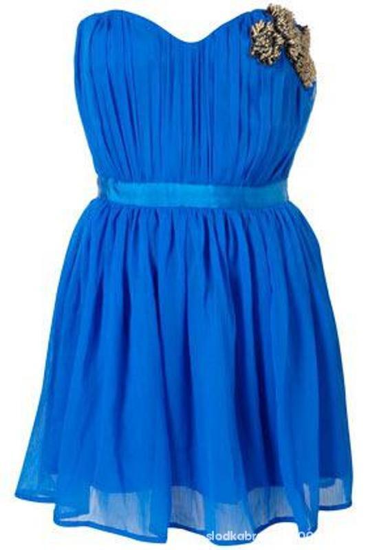 Suknie i sukienki SALE Blue Embellished Bandeau Dress TOPSHOP 42