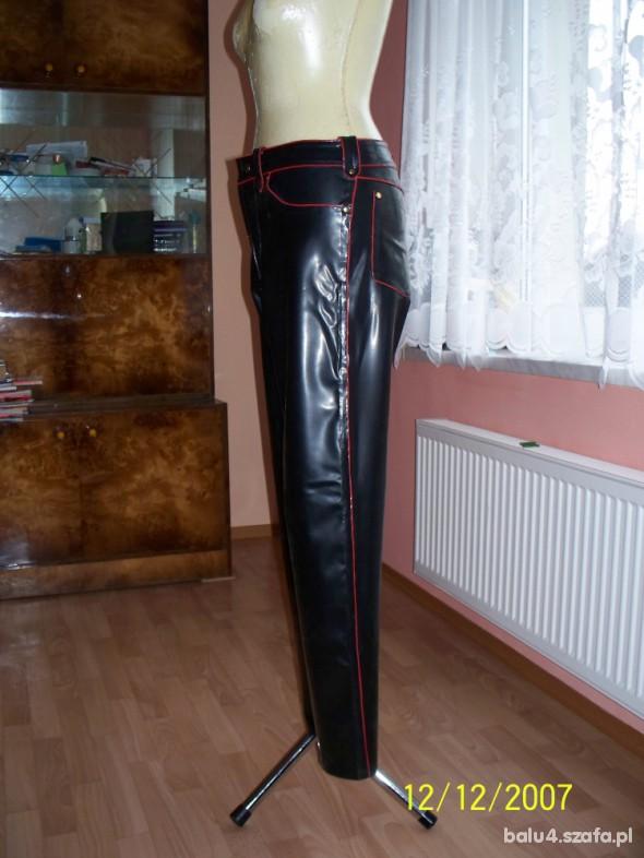 Spodnie Czarno Czerwone Latexowe Spodnie 100 procent