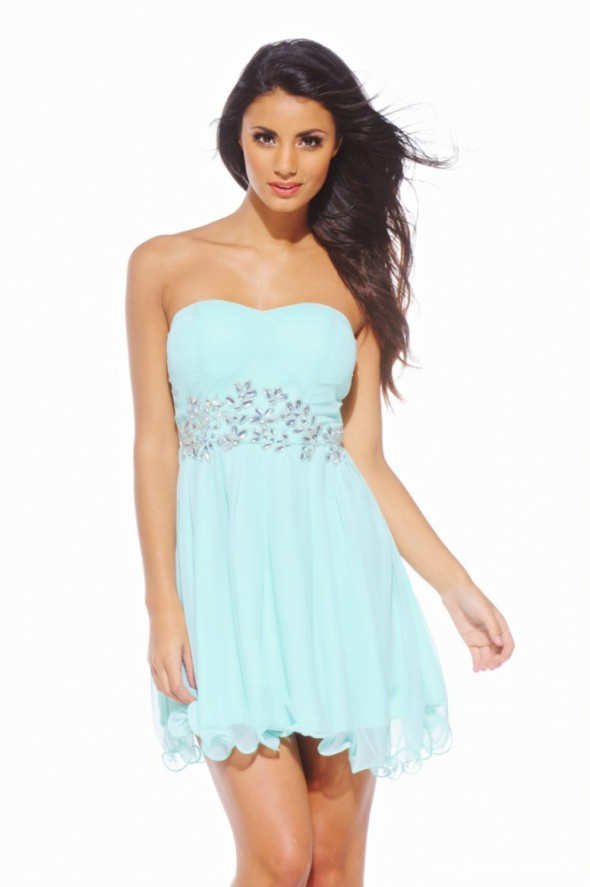 Miętowa szyfonowa sukienka AX PARIS świecidełka
