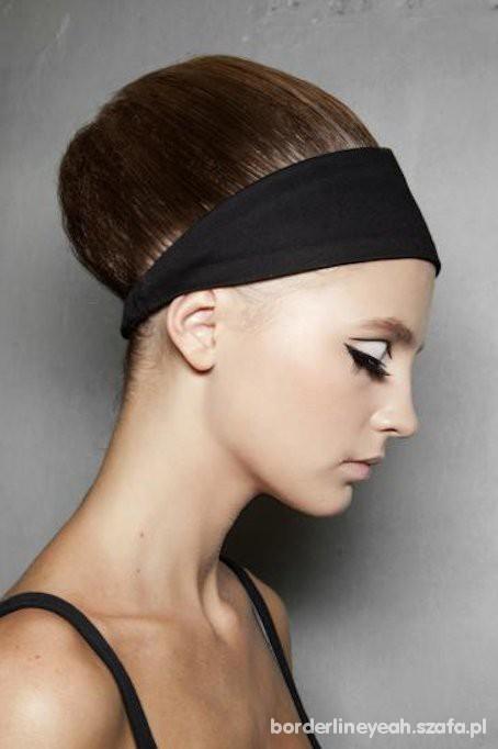 Chusty i apaszki czarna chusta opaska na gumie do włosów