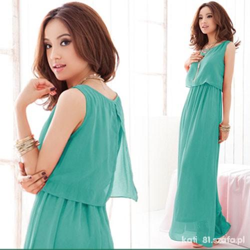 a7501473d1 Letnia zwiewna miętowa sukienka japan style S 36 w Suknie i sukienki ...