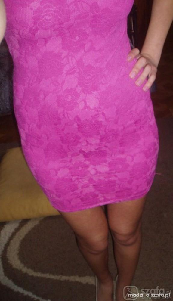 Suknie i sukienki H&M sukienka bandage koronka róż