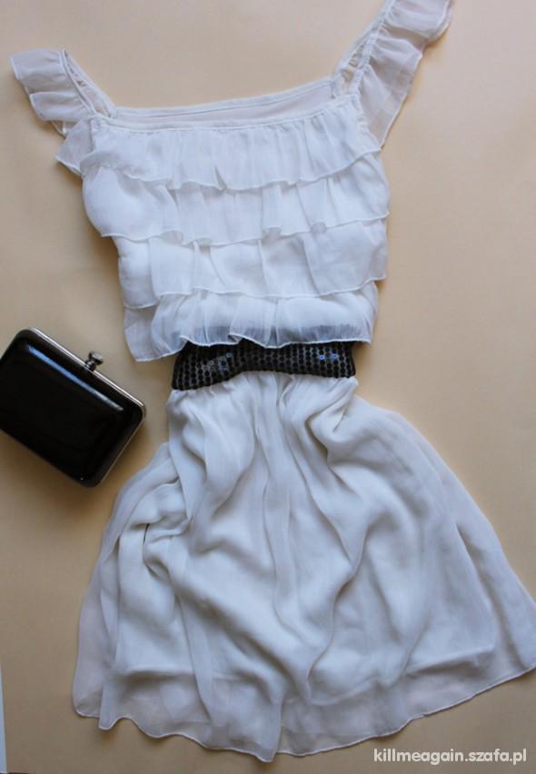 Suknie i sukienki BIAŁA SUKIENECZKA Z FALBANKAMI