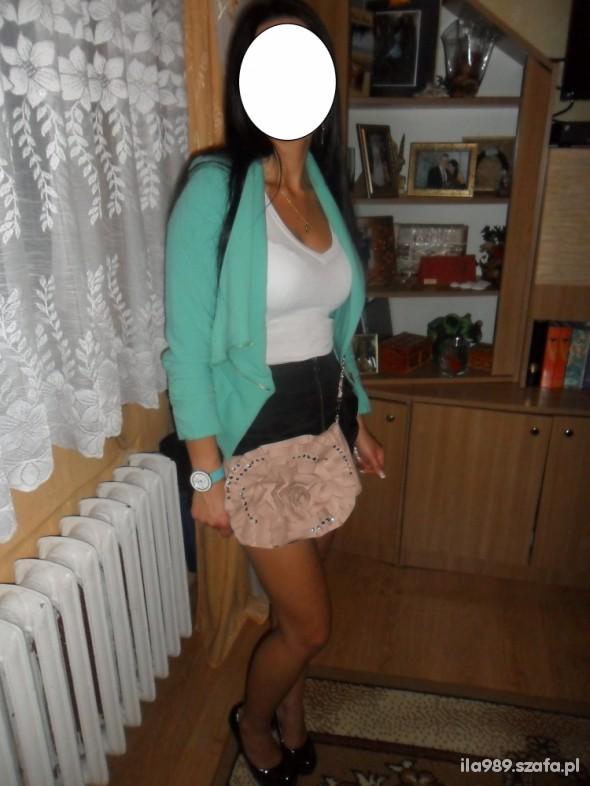 Imprezowe Imprezowo nr 2 spódniczka zip żakiet mięta