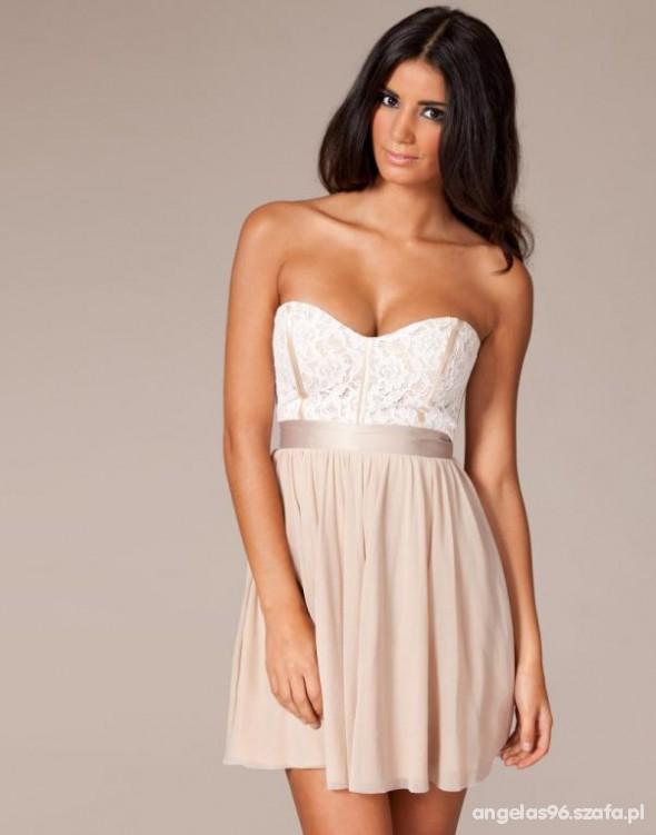 ASOS sukienka wesele gorset elegancka NUDE