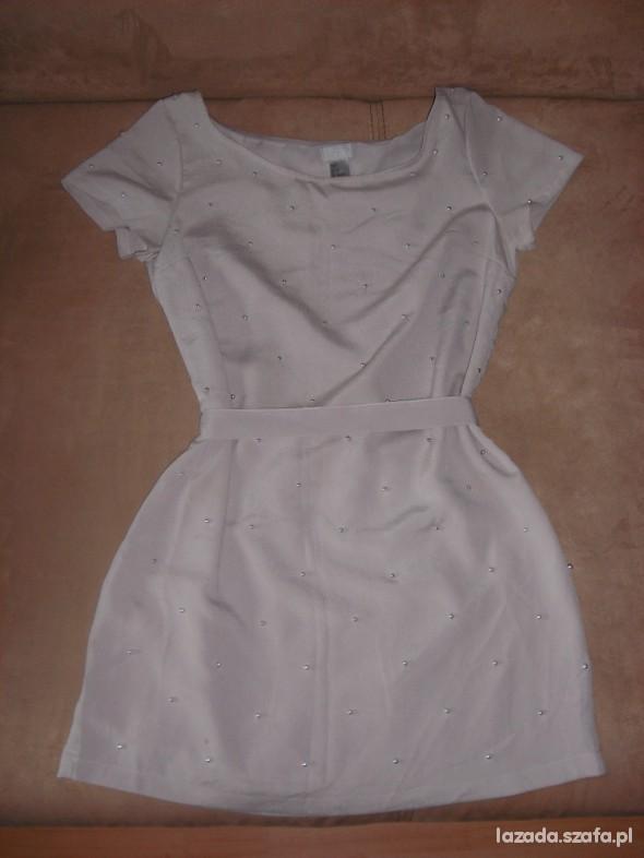 Suknie i sukienki Sukienka H&M Nude 36 S ze srebrnymi kulkami