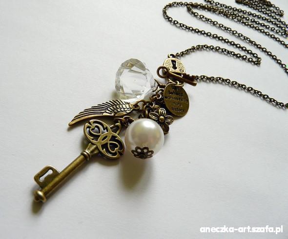 Naszyjniki Długi naszyjnik zawieszki Napis Klucz Kryształ
