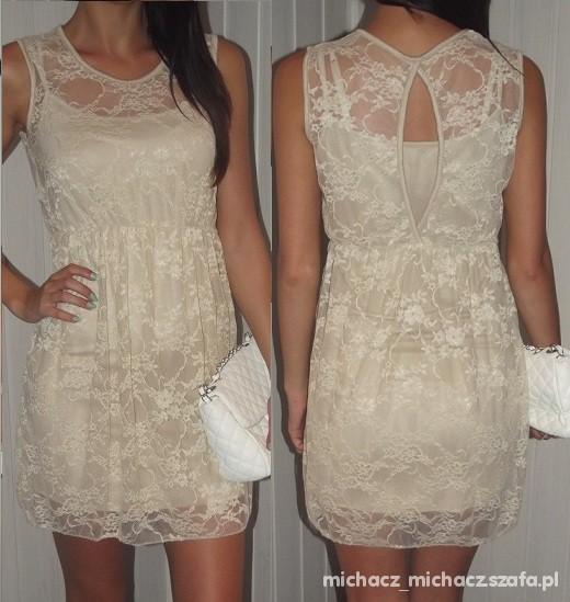 Suknie i sukienki bezowa sukienka wysylka gratis