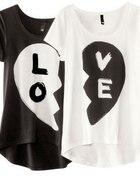 t shirt HM love czarny biały