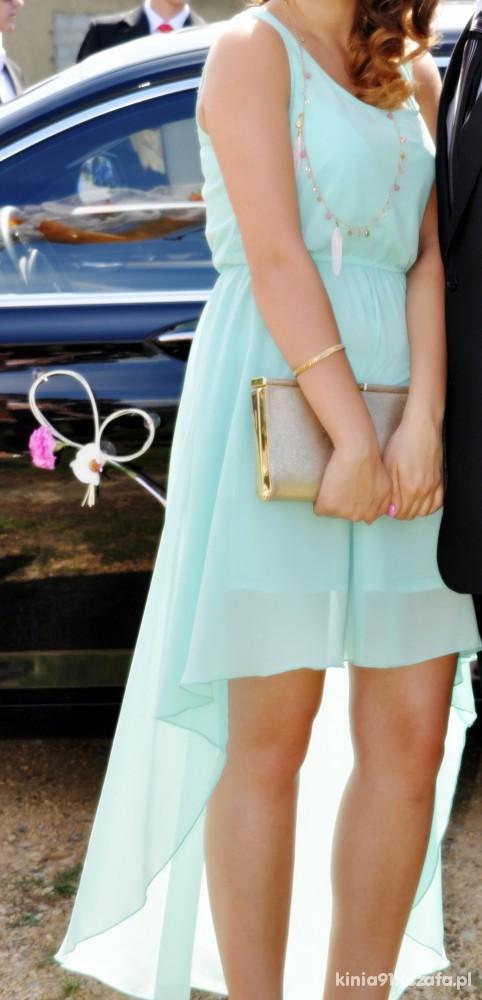 Suknie i sukienki asymetrycza miętowa sukienka