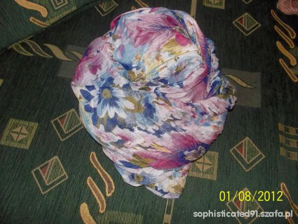 Chusty i apaszki chusta apaszaka niebieska w kwiatki floral duża