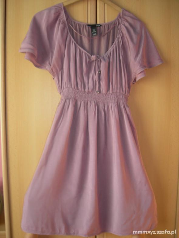 Suknie i sukienki sukienka pudrowy róż H&M