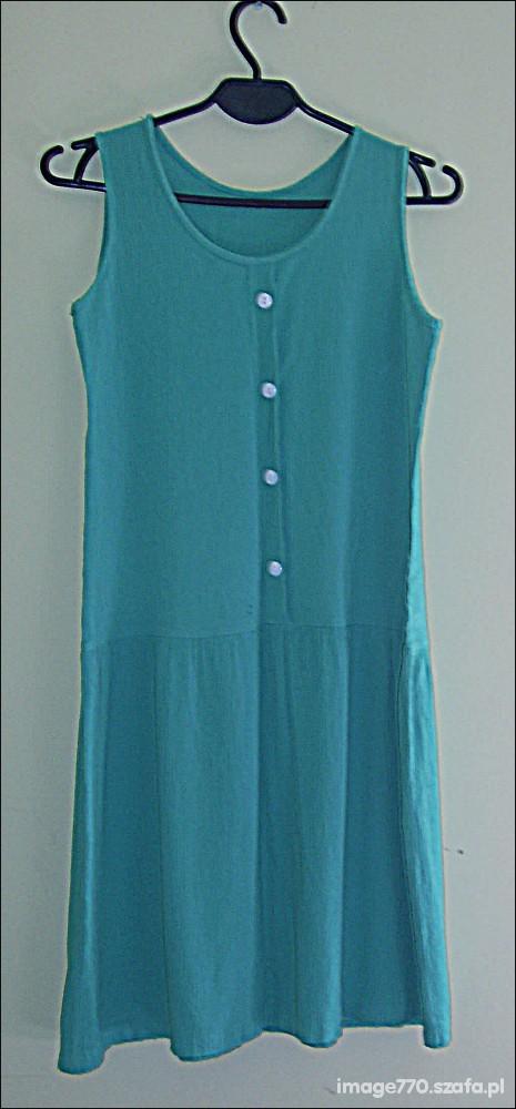 Suknie i sukienki Miętowa sukienka bez rękawów do kolan