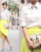 Azjatyckie inspiracje spódniczka neonowa i collar