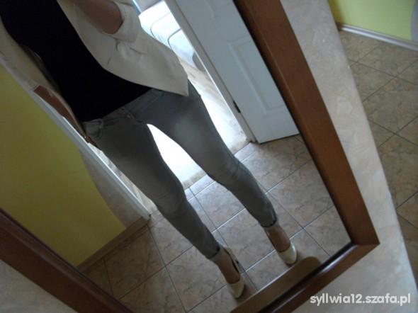 Szare jeansy rurki HIT L z podwyższonym stanem