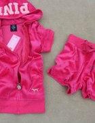 PINK Juicy Couture rozowy dres krotki welurowy