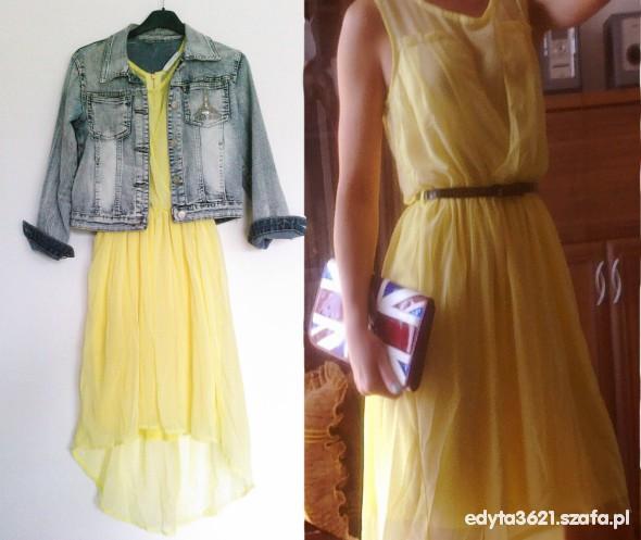 Suknie i sukienki asymetryczna cytrynowa cena z wysyłką
