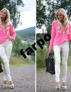 H&M sweter splot różowy neon neonowy